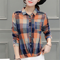 Venta caliente 2016 Mujeres Ocasionales de Lino de Algodón de Manga Larga Camisas de Tela Escocesa de Las Mujeres prendas de Vestir Exteriores Delgada Blusas Tops Blusas y camisas de mujer