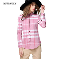 BURDULLY Summer Women Blouses Long Sleeve 2017 Shirts Cotton Pattern Plaid Shirt Female Tops Blouses European