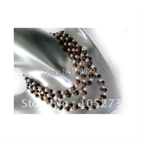 60'inchs с жемчужное ожерелье а . а . 7 - 8 мм белый, розовый черный качества пресной воды жемчужное ожерелье оптовая продажа новый бесплатная доставка fn710