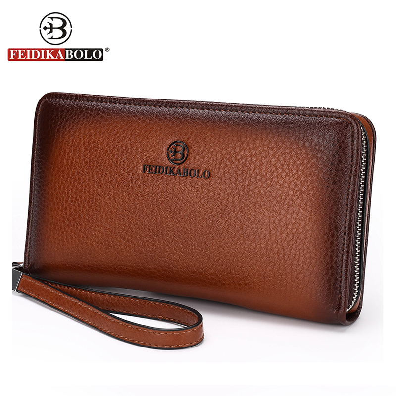 купить FD BOLO Brand Bag Men clutch Bags Monederos Carteras Mujer Luxury Male Leather Purse Men's Clutch Wallets Handy Bags Man Wallets онлайн