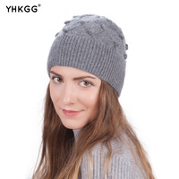 2017 YHKGG Novas Senhoras de Inverno Chapéus de Lã de Malha Elástica Cap Gorros de Algodão High-end Da Marca Casuais Chapéus