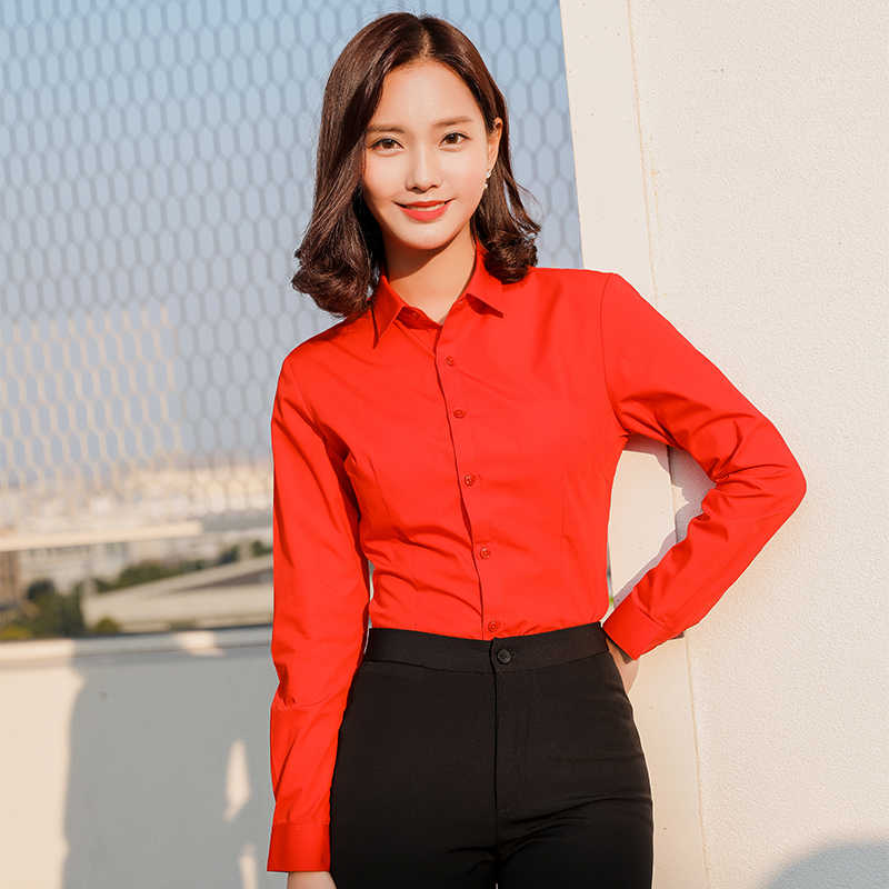 Long sleeve women shirts office social work shirts red white color slim fit Formal blouses Tops Plus Size Blusas Women blouse