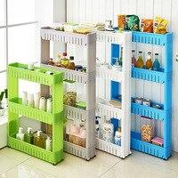 Estante de almacenamiento de plástico, estante de almacenamiento de subseco, estantes de almacenamiento Interspace movibles, estante de espacio para refrigerador con rodillo, organizador de cocina