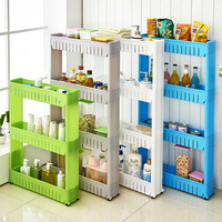 Storage Shelf Plastic Subdries Rack Movable Interspace Storage Racks Refrigerator Space Rack with Roller Kitchen Organizer
