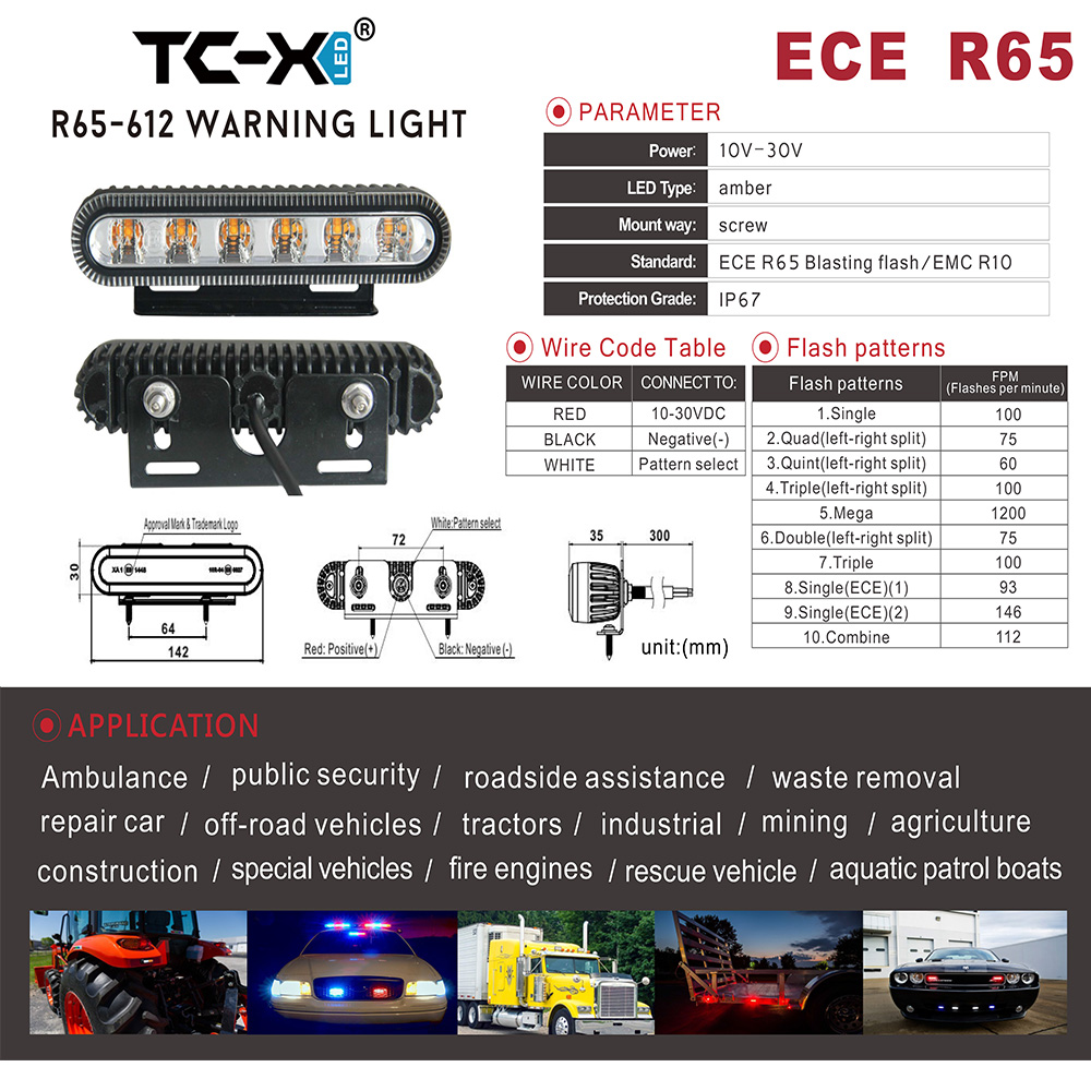 TC-X 6 LED E-MARK Police Strobe 10Modes Auto Advarselslys Højeffekt Ambulanselampe roterende bilnød for KAMAZ