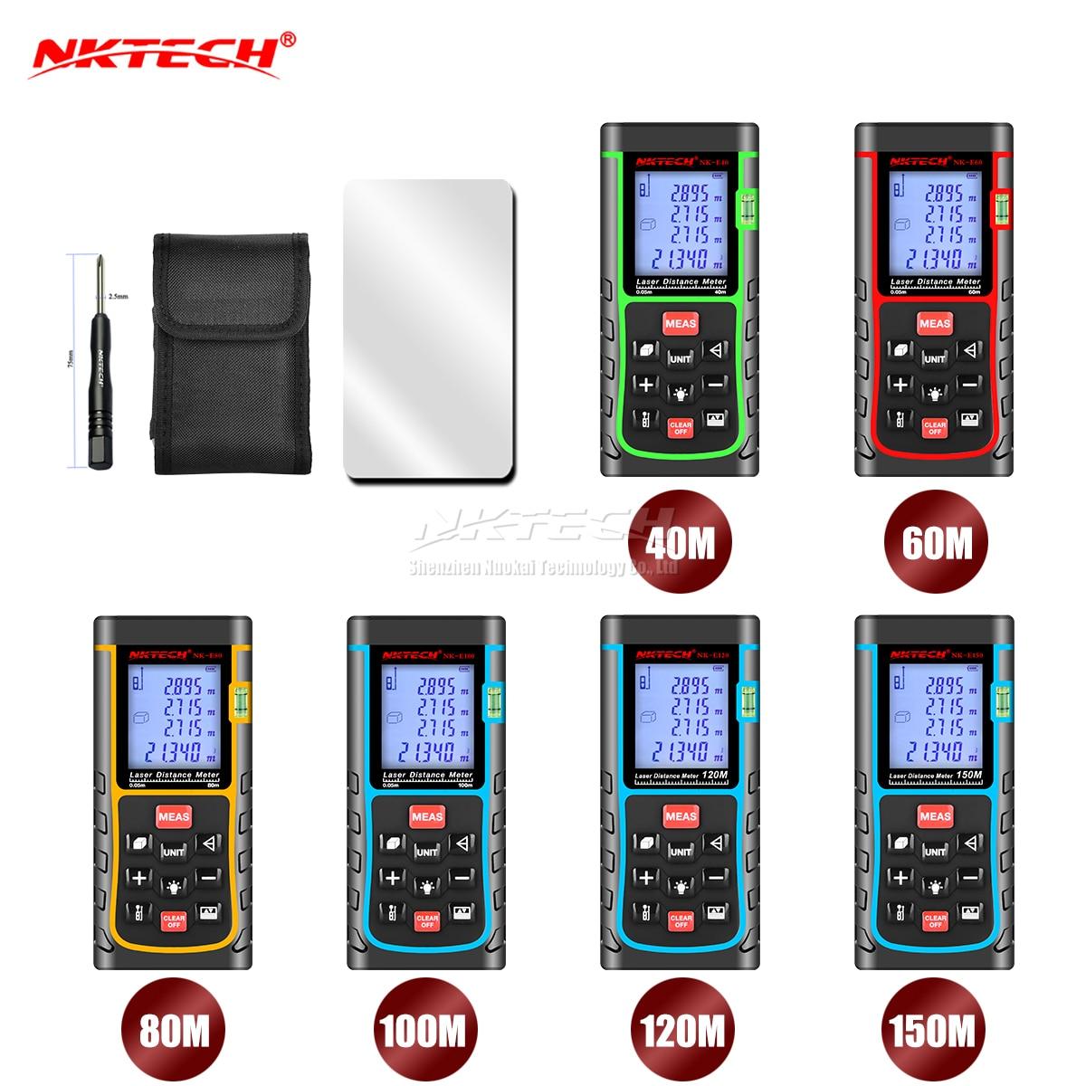 NKTECH 40 m 60 m 80 m 100 m 120/150 m Laser Mètre de Distance Télémètre Range Finder Testeur m/en/ft Longueur Bande Surface Volume Angle IP54