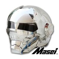 MASEI 610 Silver Plating Chrome IRONMAN Iron Man Helmet Motorcycle Helmet Half Open Face Helmet ABS