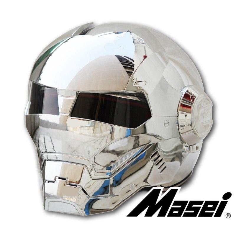 MASEI 610 Chapado en plata cromado IRONMAN Iron Man casco de motocicleta casco de cara media abierta ABS casco de motocross