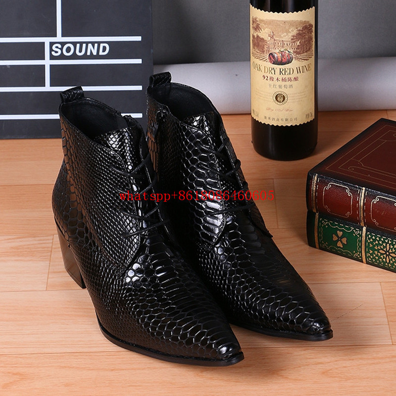 Zobairou  Brand Design Black Snake Skin Leather Military Boots Pointed Toe High Heels Stud Cowboy Boots Dress Wedding Shoes Men red men wedding dress shoes pointed toe ankle boots genuine leather botas hombre cowboy military boots metal decor men flats