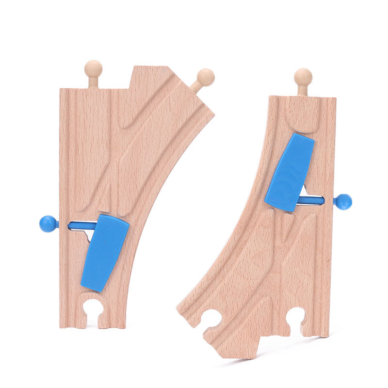 Blue Wooden Train Track Accessories Y-switch Junction Switching Track Educational Railway Toy Bloques De