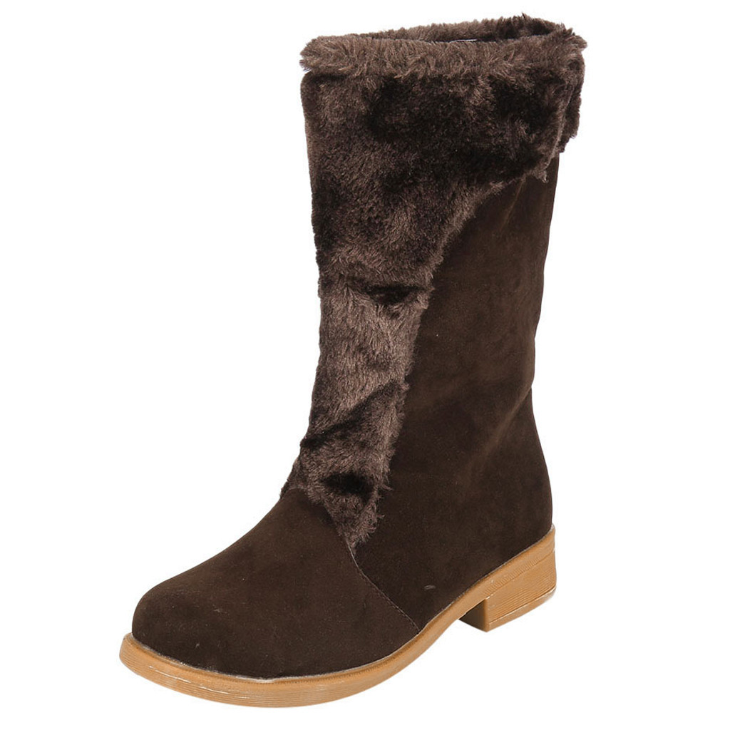 Flight Tracker Mokingtop mokingtop Women Square Heel Middle Tube Boots Keep Warm Flock Snow Boots Slip-on Shoes Zapatos De Mujer #es5 To Have A Long Historical Standing