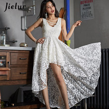 04795040c Jielur Sexy Lace Dress Women Vacation White Solid Summer Bow Bridesmaids  Dress 2019 Fashion Irregular Korean V-neck OL Vestidos