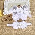 Pérola Da Coroa do bebê batismo sapatos da menina da criança headband set, kids shoes sapatinhos de bebe de menina Menina Da Bailarina
