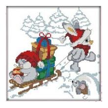 1 set print cute christmas bunny cross stitch 11 ct diy needle wire wedding christmas gift