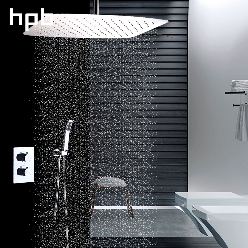 HPB Bathroom Thermostatic 12 inch Rainfall Shower Set Three Function Water Faucet Wall Mounted Bath Faucet Shower Head HP2205b&d wall mounted thermostatic shower faucet 2