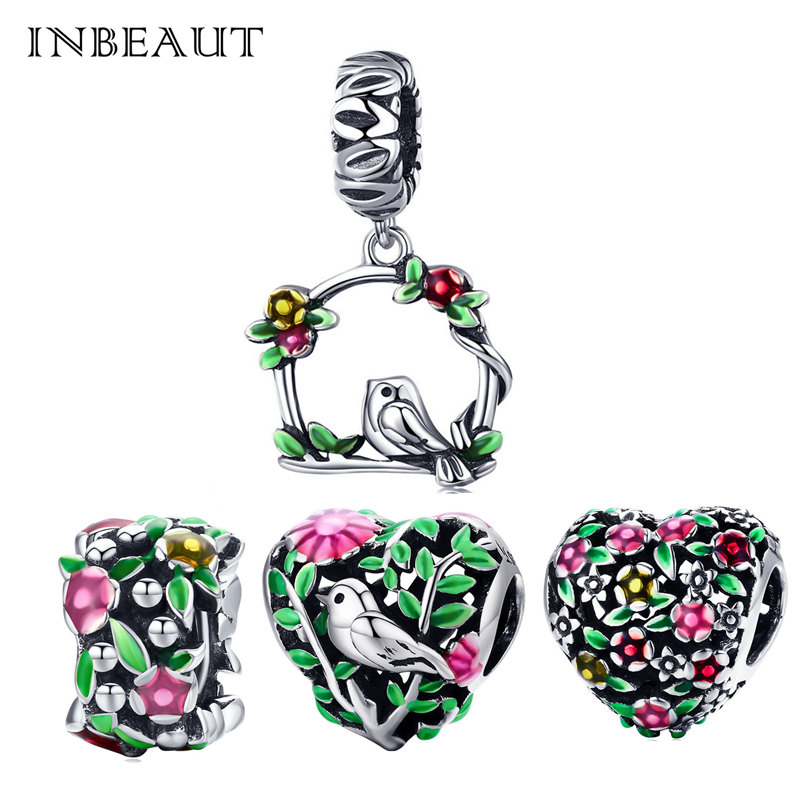 INBEAUT 925 Sterling Silver Green Tree Pink Flower Cute Bird Pendant Beads fit Pandora Charm Bracelet Women Jewelry Making