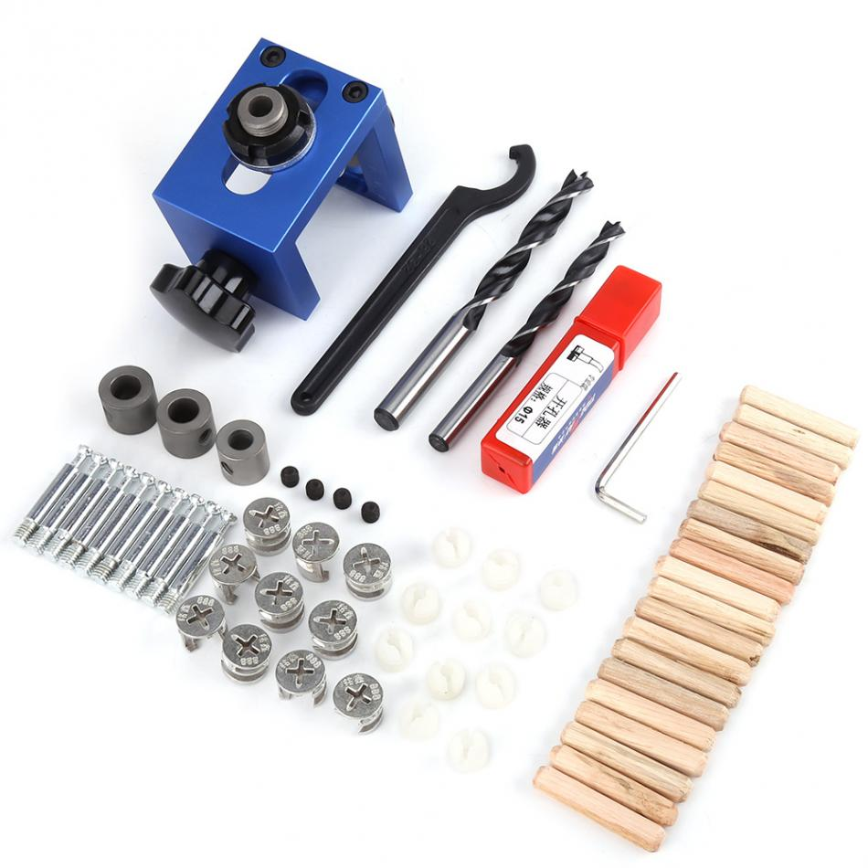40Cr Steel Drill Bit Wood Dowel Hole Drilling Guide Jig Kit Woodworking Carpentry Positioner Locator Tool