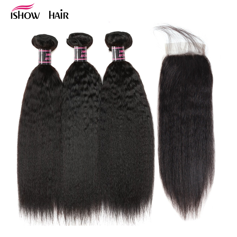 Ishow Yaki Straight Human Hair Bundles with Closure Brazilian Hair Weave Bundles with Closure Non Remy 2/3 Bundles with Closure