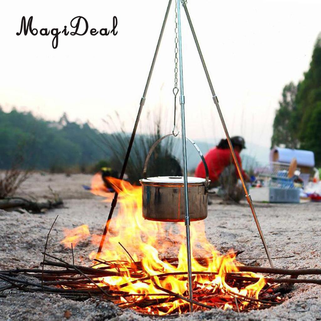 Details about  /Camping Tripod Portable Stainless Steel Campfire Cooking Tripod Grill Support
