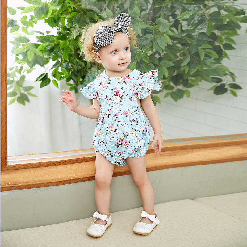 Fashion Backless Bodysuits for Newborn Girls Floral Coveralls 2018 Summer Flying Sleeve Infant Sunsuits Cotton Childrens Onesie
