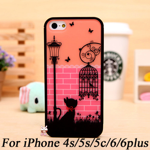 best sneakers 9447f c9d6f US $3.99 |Fancy Cute Cat Birdcage Bumper Case Cover Capa for iPhone 5c 5s  4s 5 s 4 6 plus 4.7 Phone Hard Shell for galaxy s4 s5 note 2 3 4 on ...