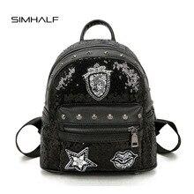 Simhalf женщины рюкзак моды пайетки заклепки кожаный рюкзак женский модный дизайнер школьные сумки для девочек-подростков путешествия Mochilas