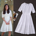 Бесплатная Доставка Лето Элегантный Кейт Стиль Выдалбливают Вышитые 100% Хлопок Dress 150522YY01