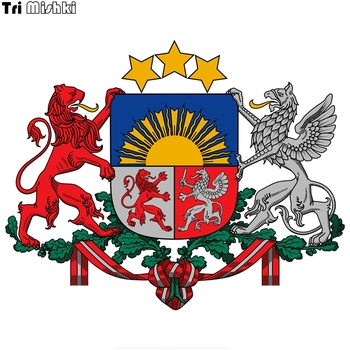 Tri Mishki WCS235# 17.5x14cm Coat of arms of latvia car sticker funny colorful car stickers auto automobile decals image