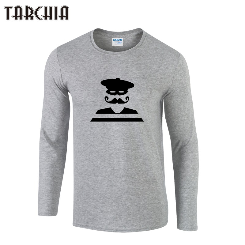 TARCHIA 2019 Fashion T shirts Men's Print Long Sleeve Brand Design Autumn Style Male Tops Tees Casual T shirts For Man Homme