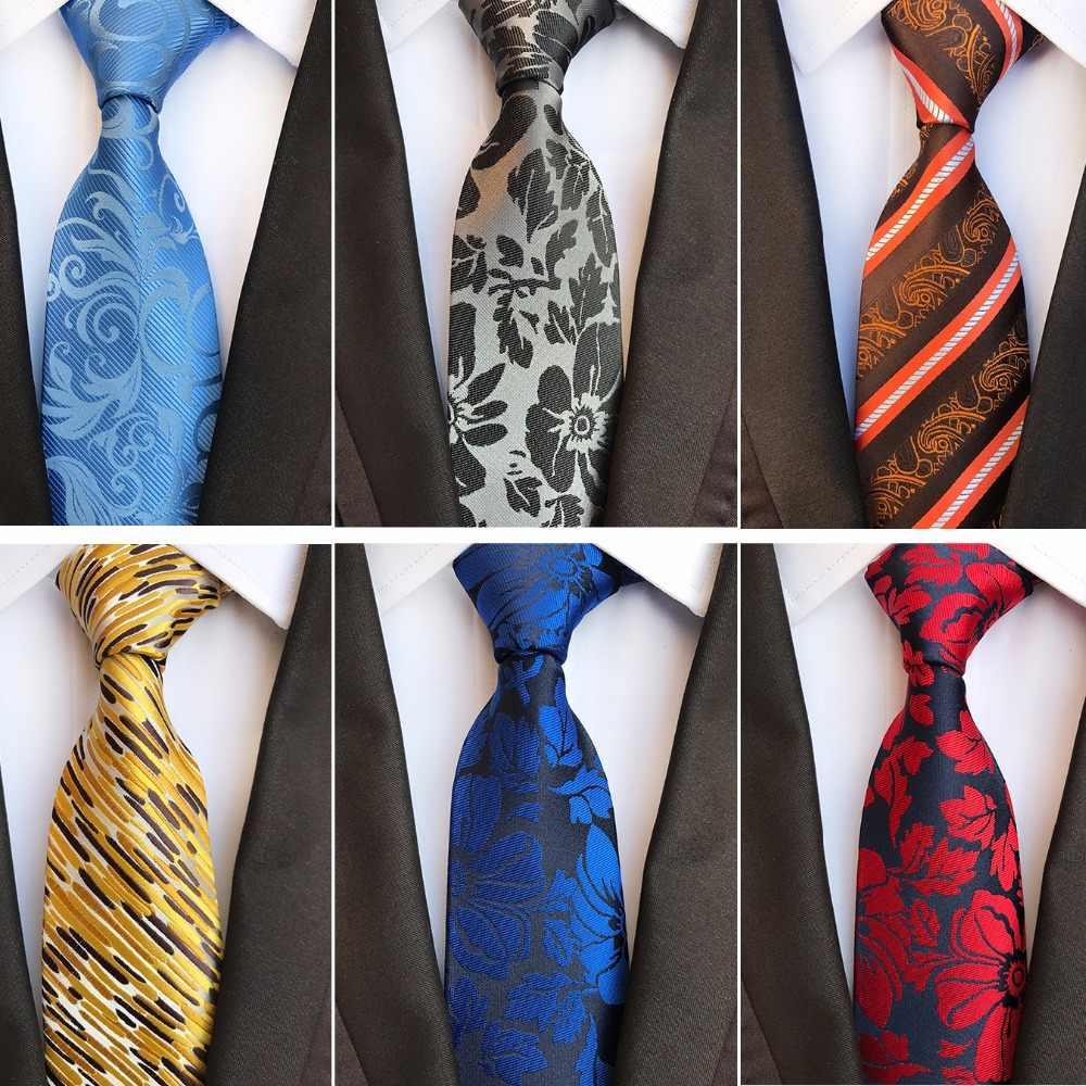 RBOCOTT nouveau Floral cravates hommes 8 cm cravate mode rayé & Paisley soie Jacquard tissé cravate jaune bleu couleur pour les hommes de mariage