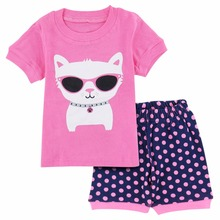 Lovely Summer Cat Printed Cotton Baby Girl's Pajamas