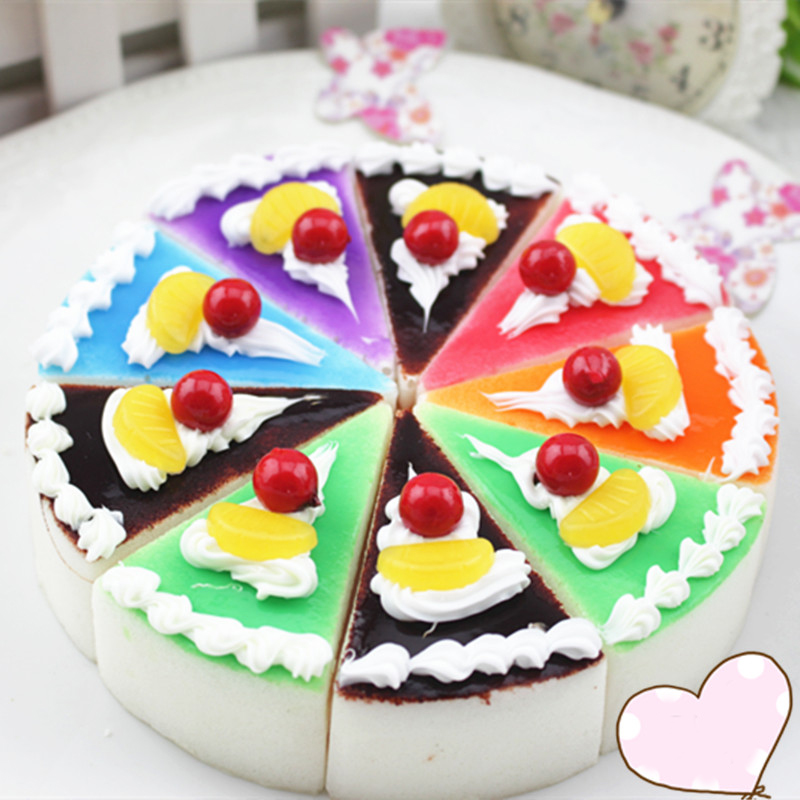 6.5CM Colorful Cake Simulation Triangle Shape Cake Soft Squeeze Toys Gag Joke Slow Risin ...