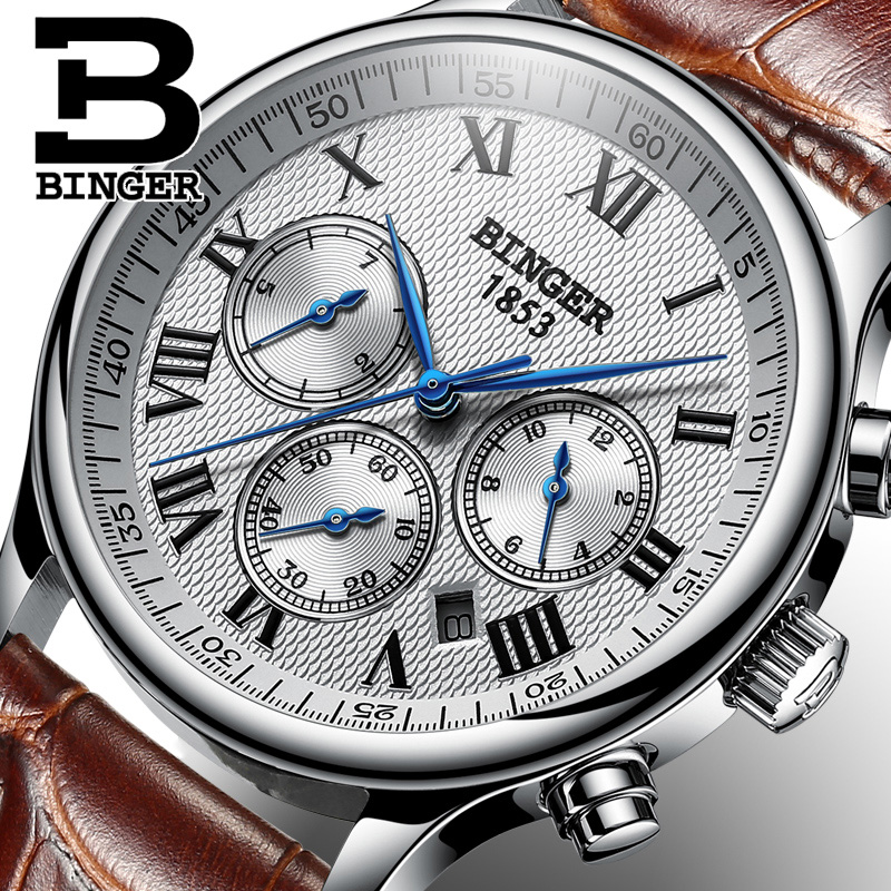 e3d1f7057ec Suíça BINGER Homens Relógio Mecânico Relógios De Pulso De Luxo Da Marca  relógio Automático de Safira