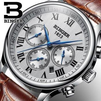93f499a7b3c7 Suiza BINGER reloj mecánico de los hombres relojes de los hombres de la  marca de lujo de reloj automático de zafiro reloj hombre impermeable B603