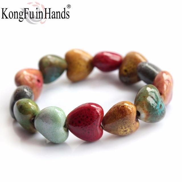 Hot Sale Heart Shaped vintage beads lady bracelet Bohemia Ceramic stone charm wo
