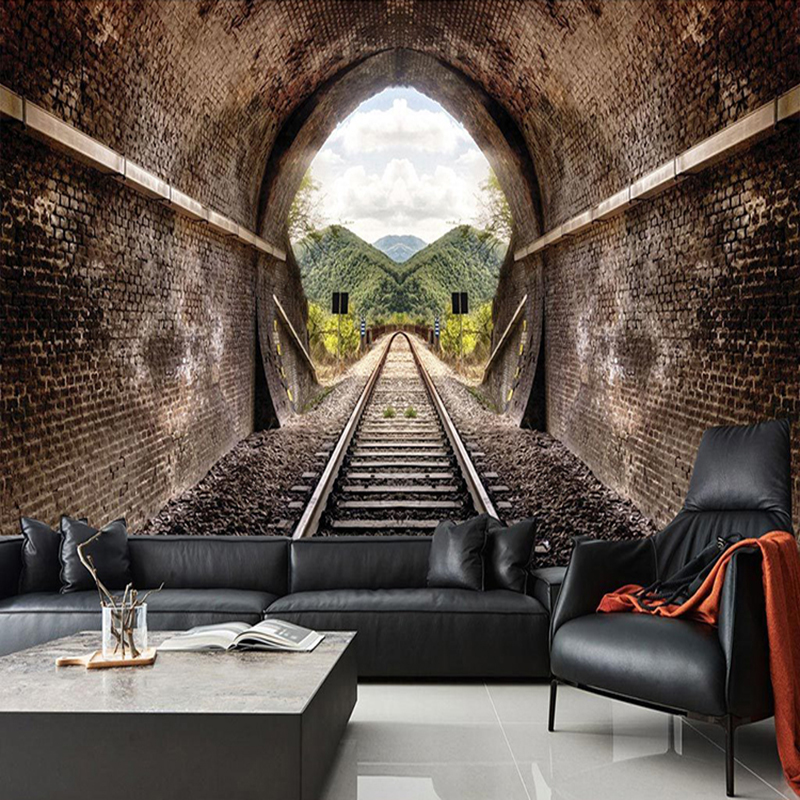 Custom 3d photo wallpaper 3d stereo train tunnel retro - Living room cafe menu philadelphia ...