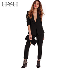 HYH HAOYIHUI Solid Black Women Blazer Long Sleeve One Button Pocket Brief Elegant Coats Mid-Waist Slim Chic Ladies Blazers