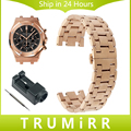 De acero inoxidable de la venda de reloj de 28mm para ap audemars piguet royal oak butterfly hebilla de pulsera correa de pulsera negro oro rosa plata