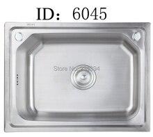 600*450*225mm 304 edelstahl Zeichnung Spülbecken Einzigen Schüssel whit seifenspender & Wasserhahn löcher