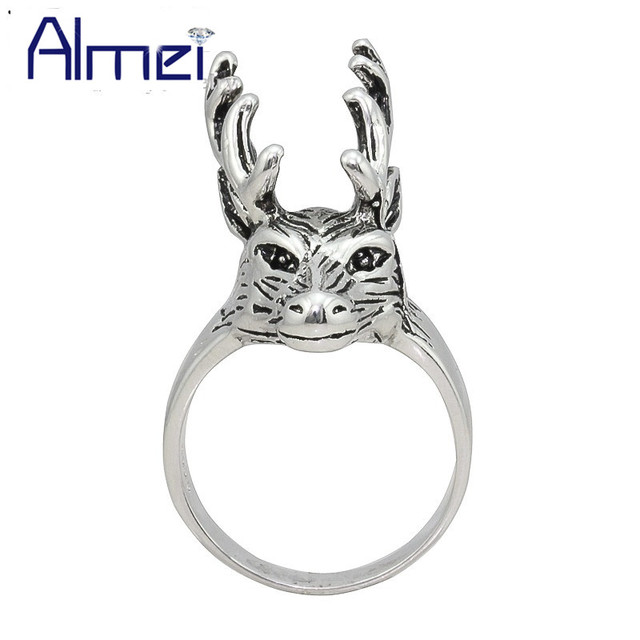 Almei Men Silver Ring Punk Anillos Hombre Fashion Deer Rings Man Anel Masculino Men's Vintage Jewelry Gift Reindeer Bague
