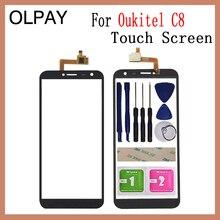 5.5 di tocco Pannello In Vetro Per Oukitel C8 C8 4G Touch Screen Digitizer Vetro del Sensore Strumenti di Spedizione Adesivo + chiaro Salviette