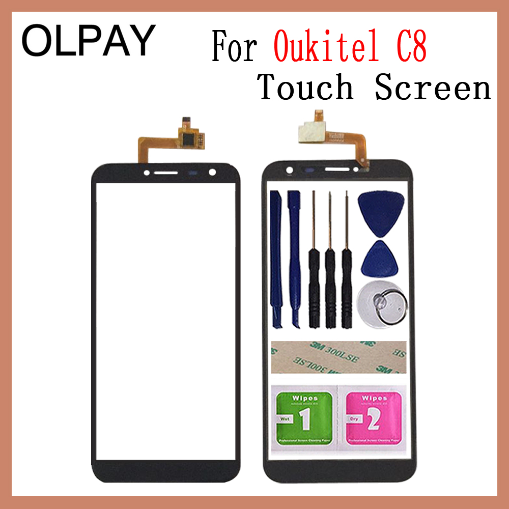 OLPAY 5.5'' Touch Glass Panel For Oukitel C8 Touch Screen Digitizer Glass Sensor Tools Free Adhesive+Clear Wipes