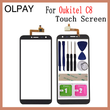 Oukitel C8 C8 4G 터치 스크린 디지타이저 유리 센서 도구 용 5.5 터치 유리 패널 무료 접착제 + 클리어 와이프