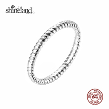 Shineland Twist Rope Ring Original 925 Sterling Silver Rings for Women Fashion Wedding Party Fine Jewelry Gift Bague en argent