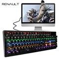 Originais RENAULT K12 Teclado Mecânico Teclado de 104 teclas com Memória Flash LED Retroiluminado USB Gaming Teclados para PC Jogos Teclado Gamer