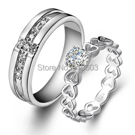 creative couples rings 925 sterling silver white gold plated wedding rings center 1 carat simulated diamond - Creative Wedding Rings