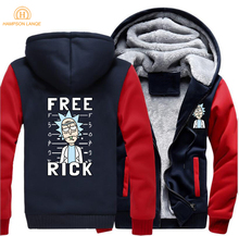 2019 Spring Winter Rick and Morty Brand Anime Hoodies Men Warm Jacket Thick Raglan Sweatshirts Free Funny Hooded Tracksuit