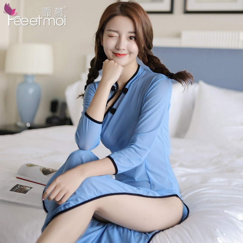 22c13b189 2018 New Chinese Style The Republic of China Students Uniform Sexy Erotic  Lingerie Transparent Cheongsam Babydoll Sex Clothes