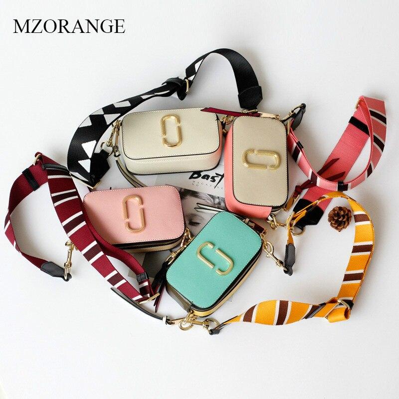 MZORANGE Fashion Genuine Leather Shoulder Bag Women Mini Panelled Flap Camera Bag Small Wide Strap Lady Messenger Crossbody Bags