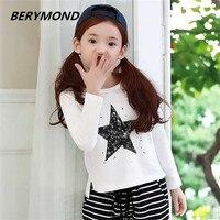 Wiosna Nowa Dziewczyna Ubrania dla dzieci Koreańska Wersja Dziecko Ubrań Duże dzieci Dorywczo T Shirt Z Długim Rękawem Biały sport Nakrywa Trójniki